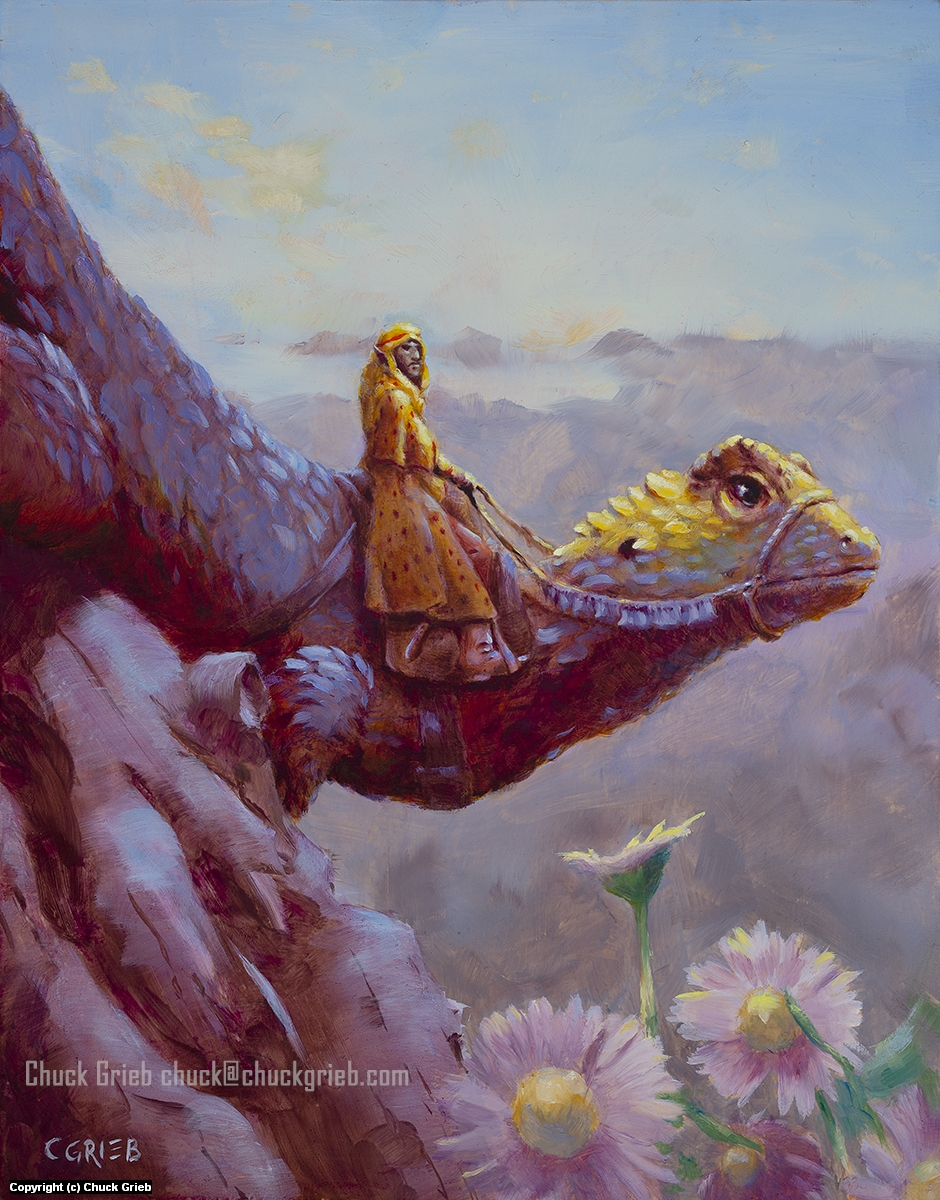Lizard Rider Greets the Morning Artwork by Chuck Grieb