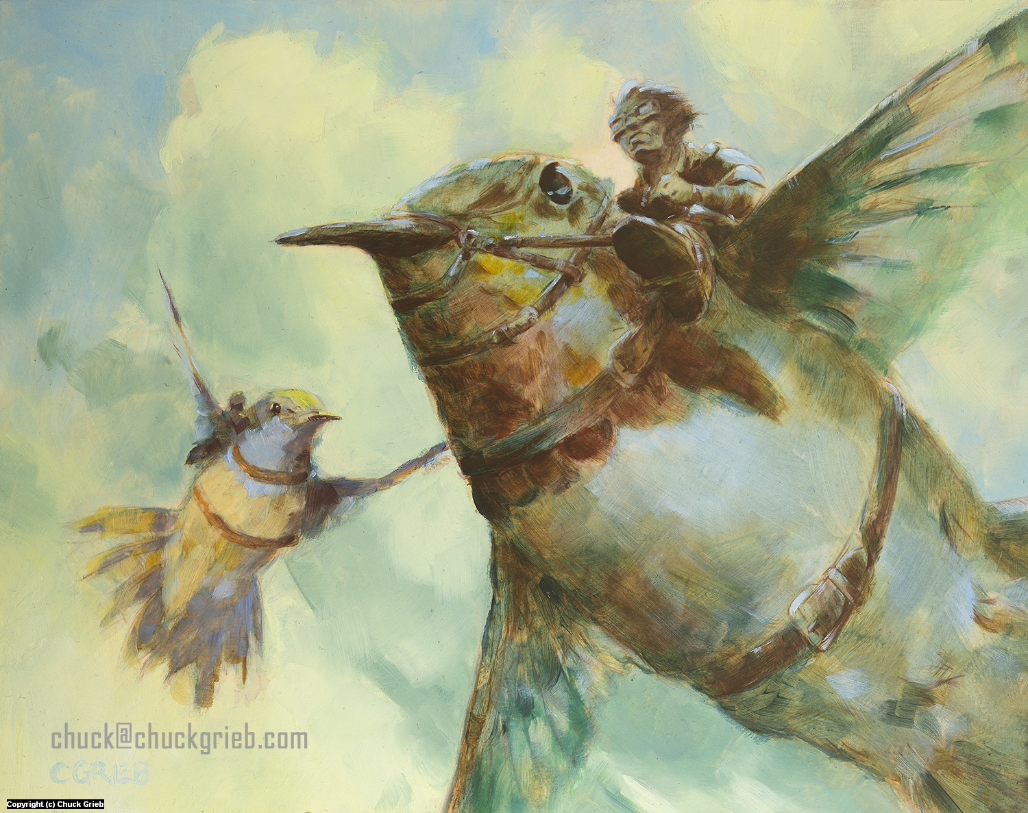 Hummingbird Riders in the Sky Artwork by Chuck Grieb