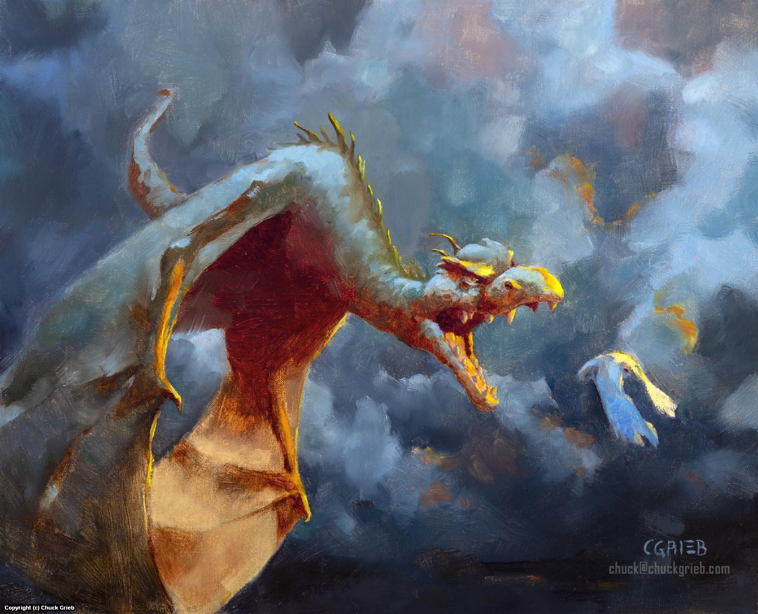 Dragon Hunt Artwork by Chuck Grieb