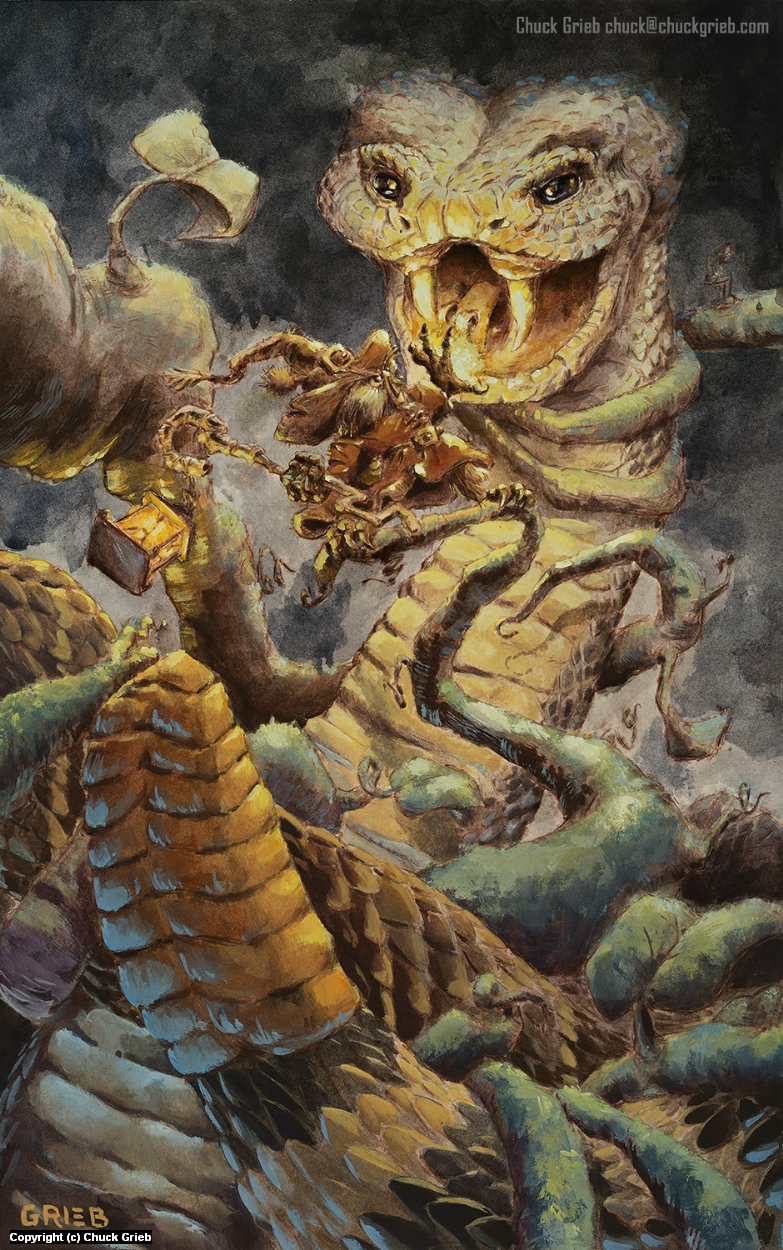 Isaacius and the Snake Artwork by Chuck Grieb