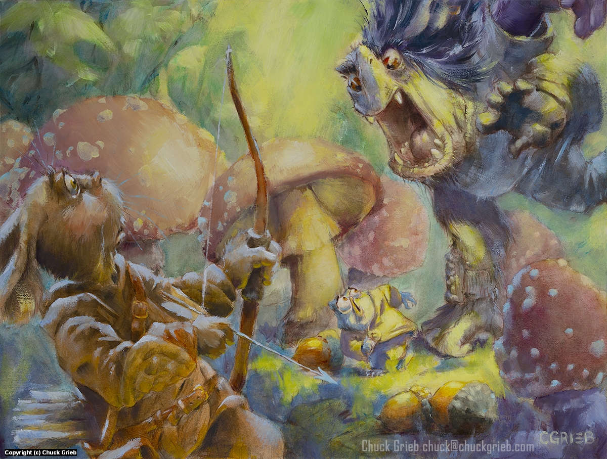 Troll Hunt - Run! Artwork by Chuck Grieb