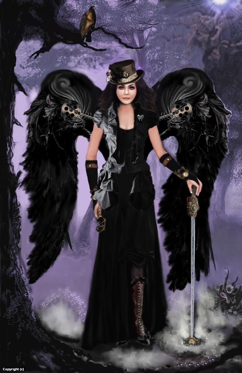 Steampunk Dark Angel Artwork by Melodye Whitaker