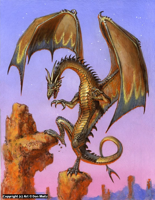 Dragon Perched Artwork by Don  Maitz