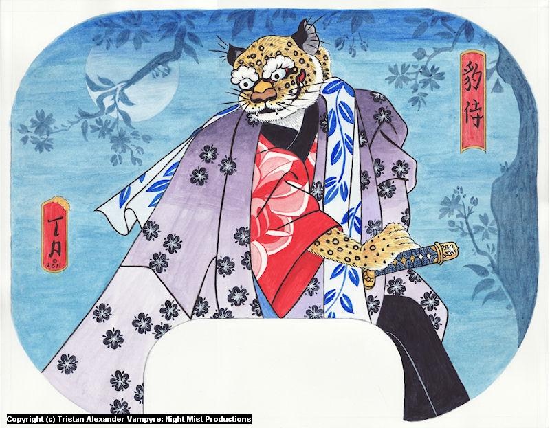 Leopard Samurai Fan Artwork by Tristan Alexander