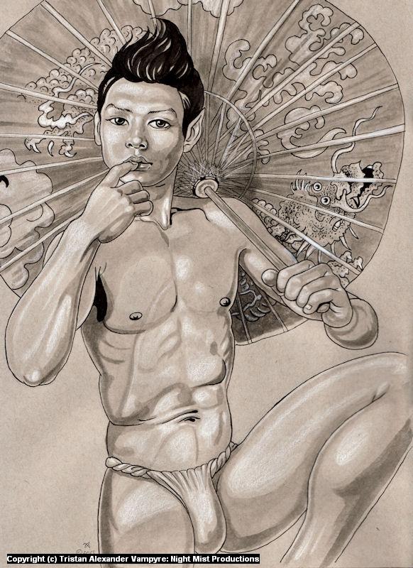 Demon with Dragon Parasol Artwork by Tristan Alexander