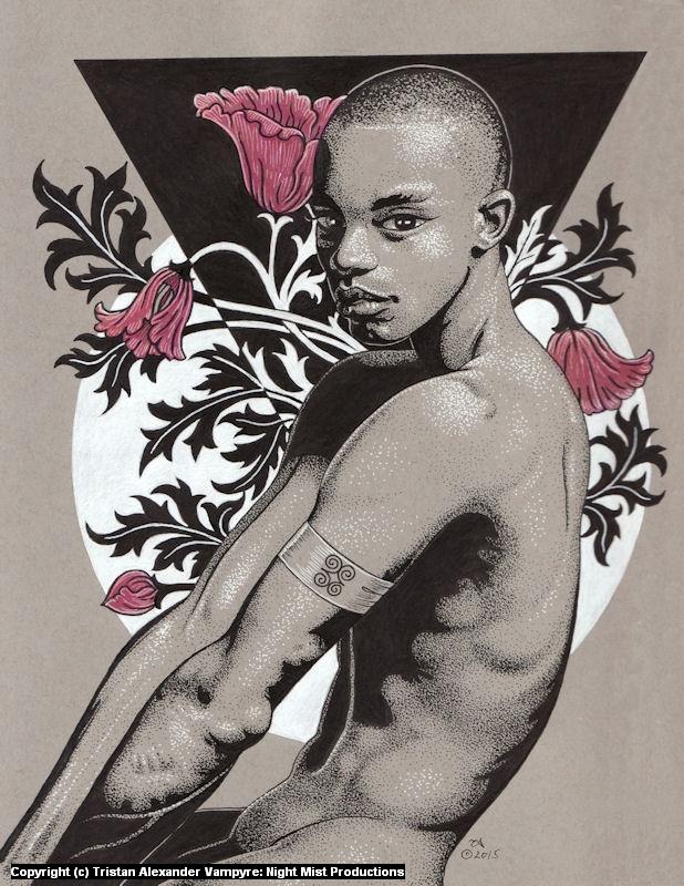 Boy with Flowers Artwork by Tristan Alexander