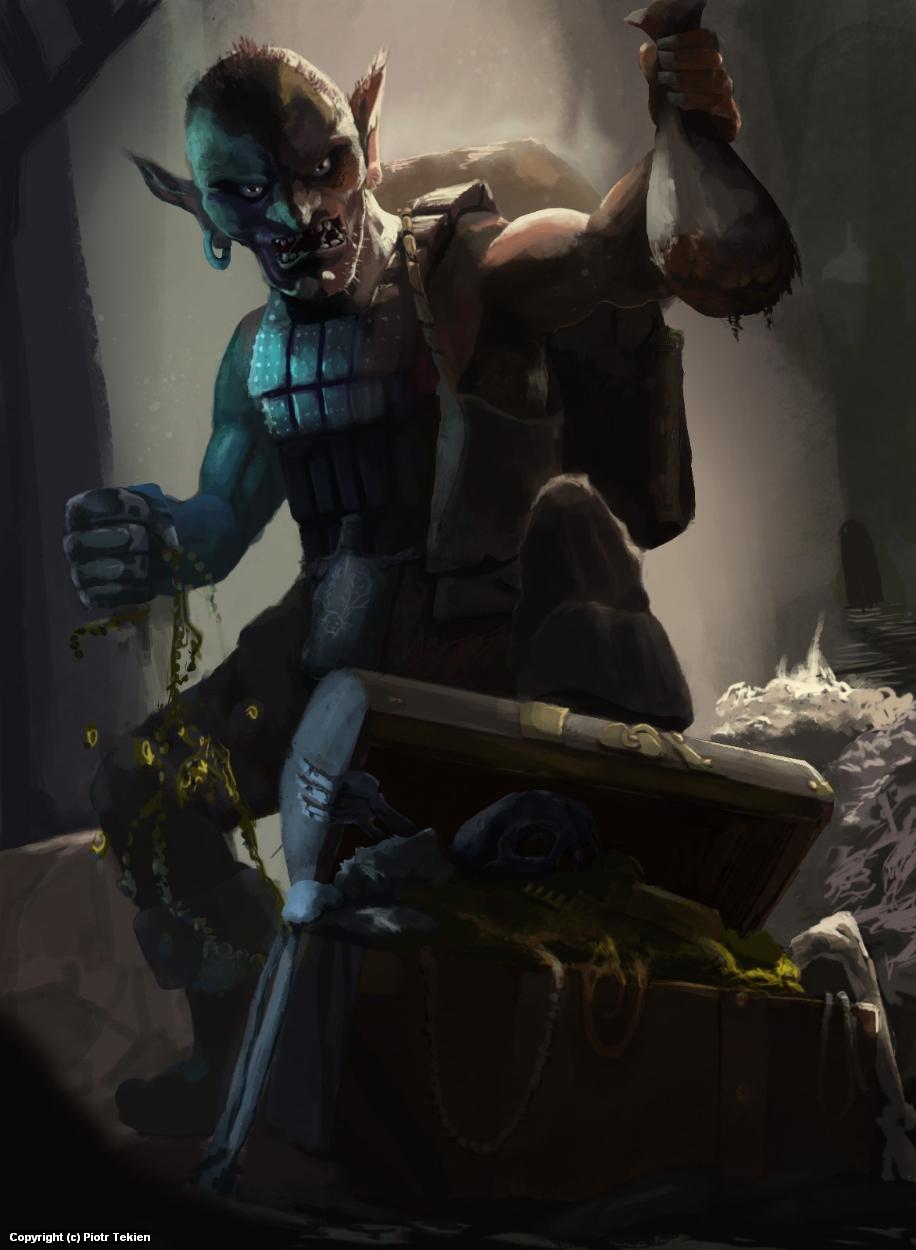 Goblin treasure hunter Artwork by Piotr Tekien