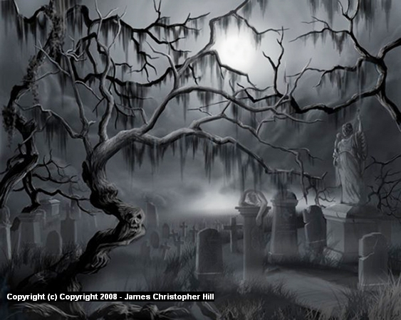 Midnight in the Graveyard I Artwork by James Hill