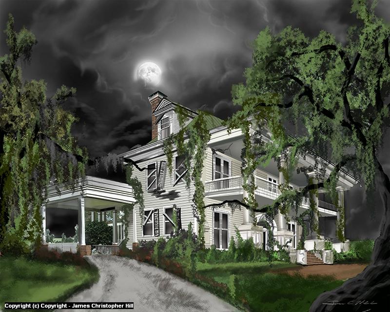 Dark Plantation House Artwork by James Hill