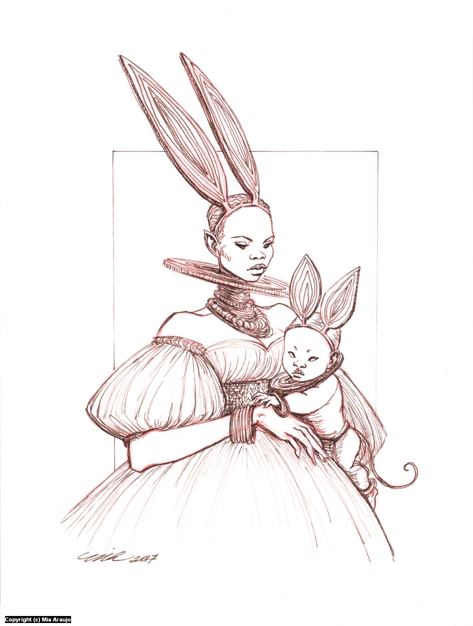 March Hare and Dormouse Artwork by Mia Araujo