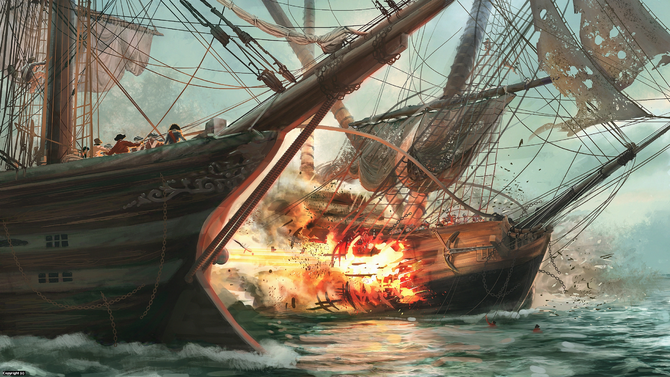 Ship Battle Artwork by Quentin Castel