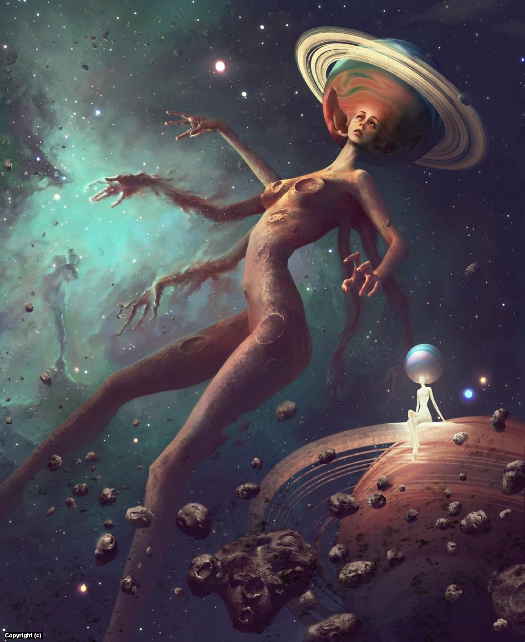 Lady Galaxy Artwork by Quentin Castel
