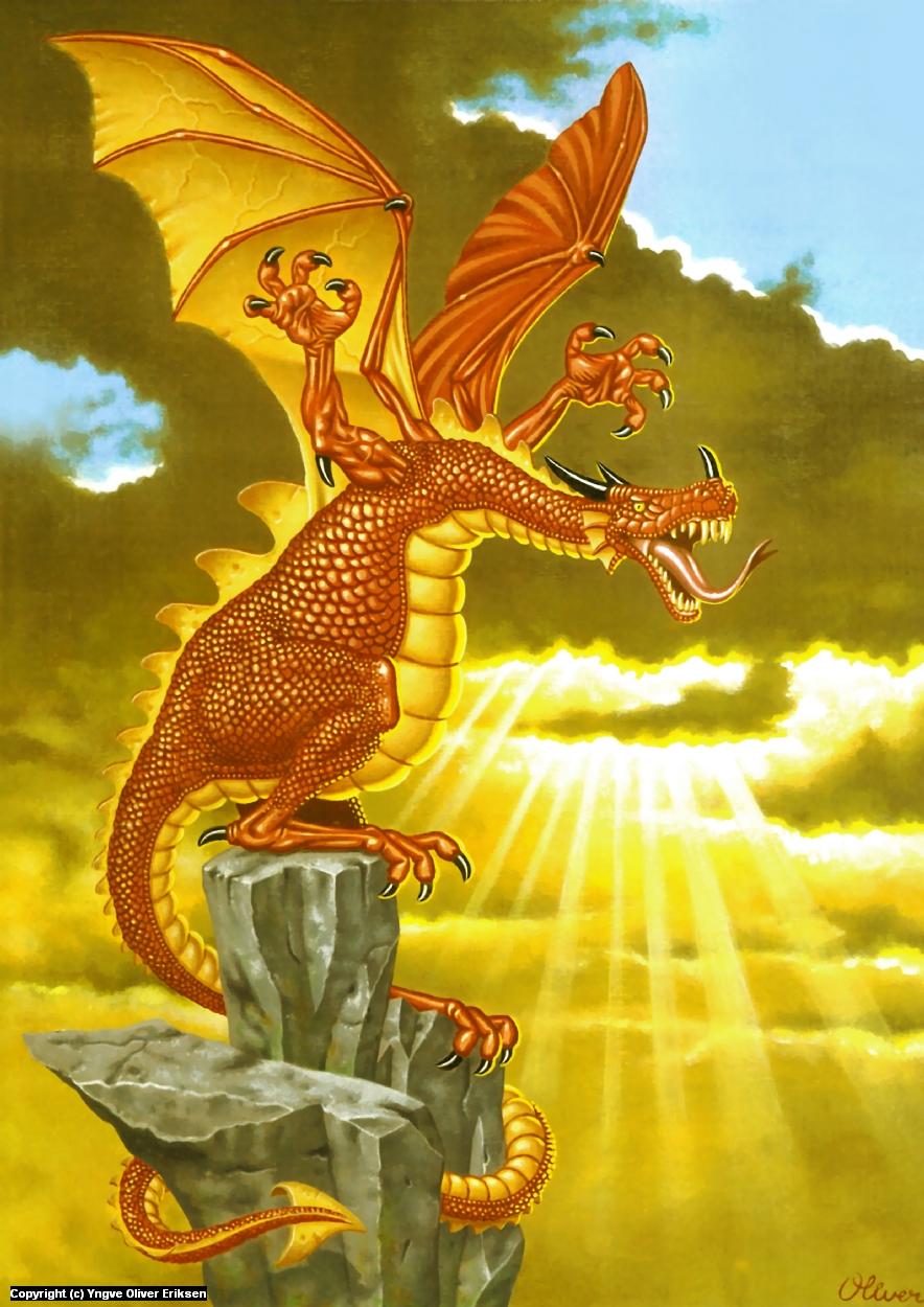 Red dragon Artwork by Yngve Oliver Eriksen