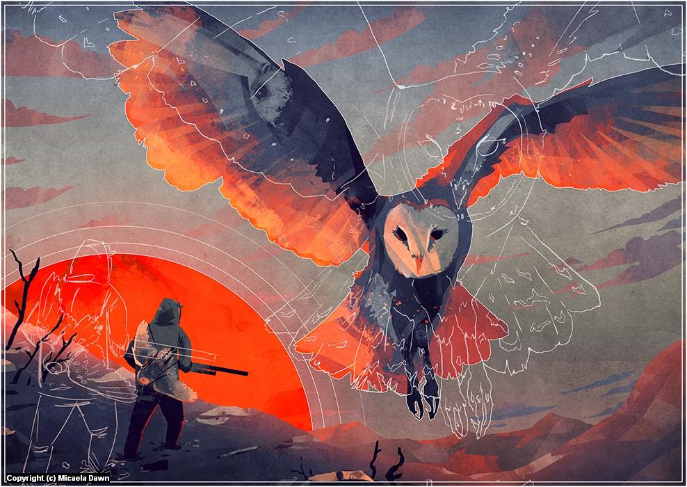 Owl Hunt Artwork by Micaela Dawn