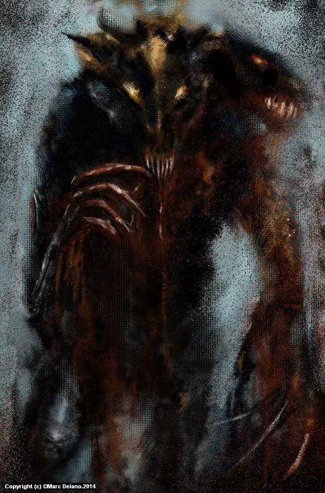 Hellhound.cú ifrinn . Acrylic.splatter ,sketch . Artwork by Marc  Delano
