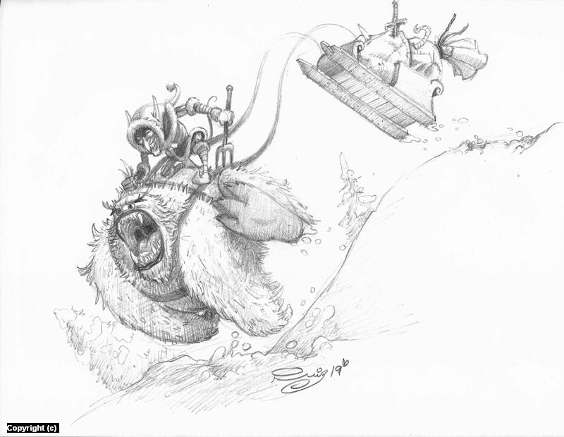 Xmas goblin on the run!  Artwork by Juan Ruiz