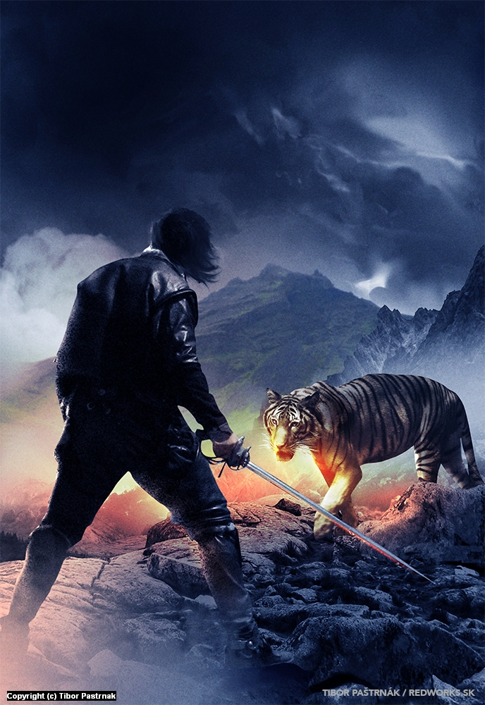 Man, steel and a tiger Artwork by Tibor Pastrnak