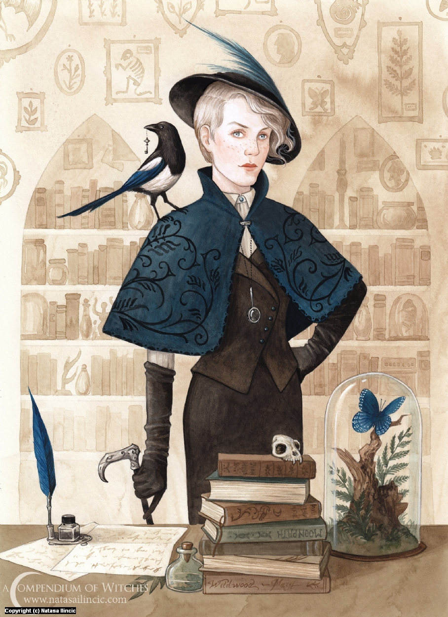 A Compendium of Witches ~ Magpie Artwork by Natasa Ilincic