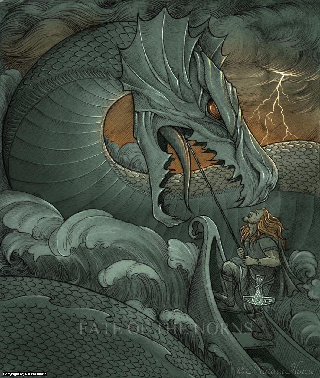 Thor against Jormungandr Artwork by Natasa Ilincic
