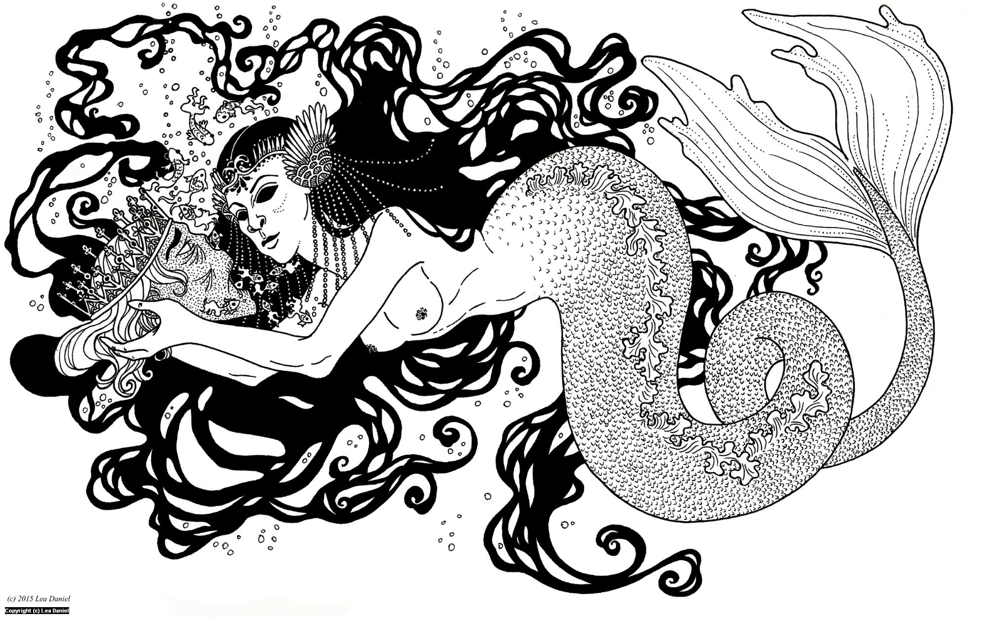 Mermaid and Prince Artwork by Anastasiia Antonova