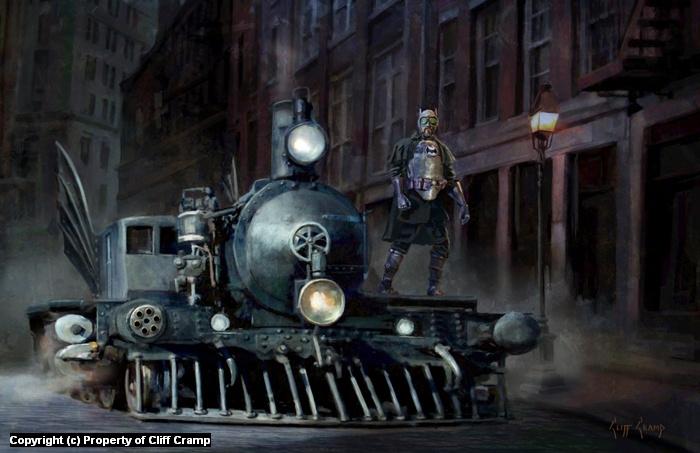 Steampunk Dark Knight Artwork by Cliff Cramp