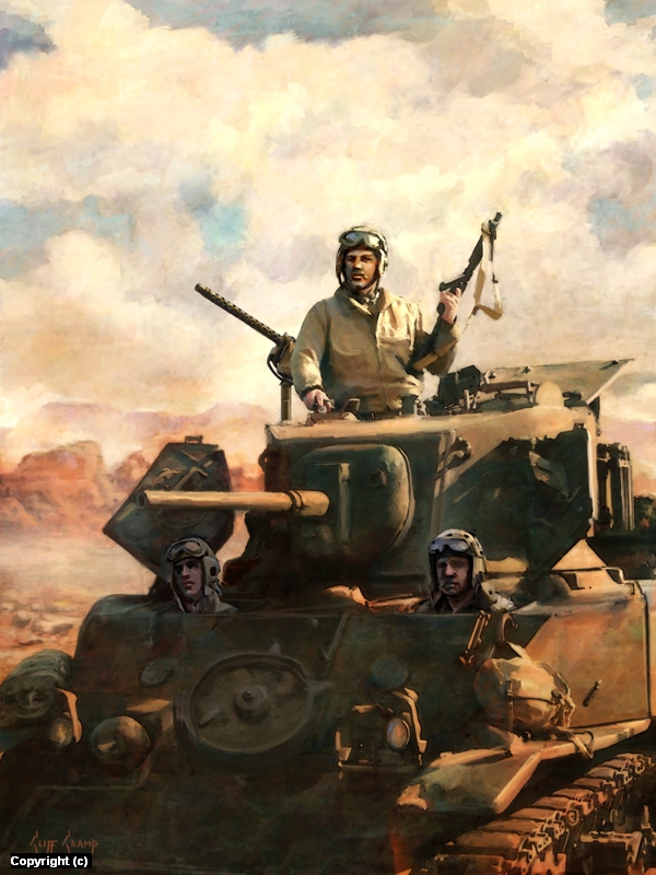 M5A1 Stuart in North Africa Artwork by Cliff Cramp