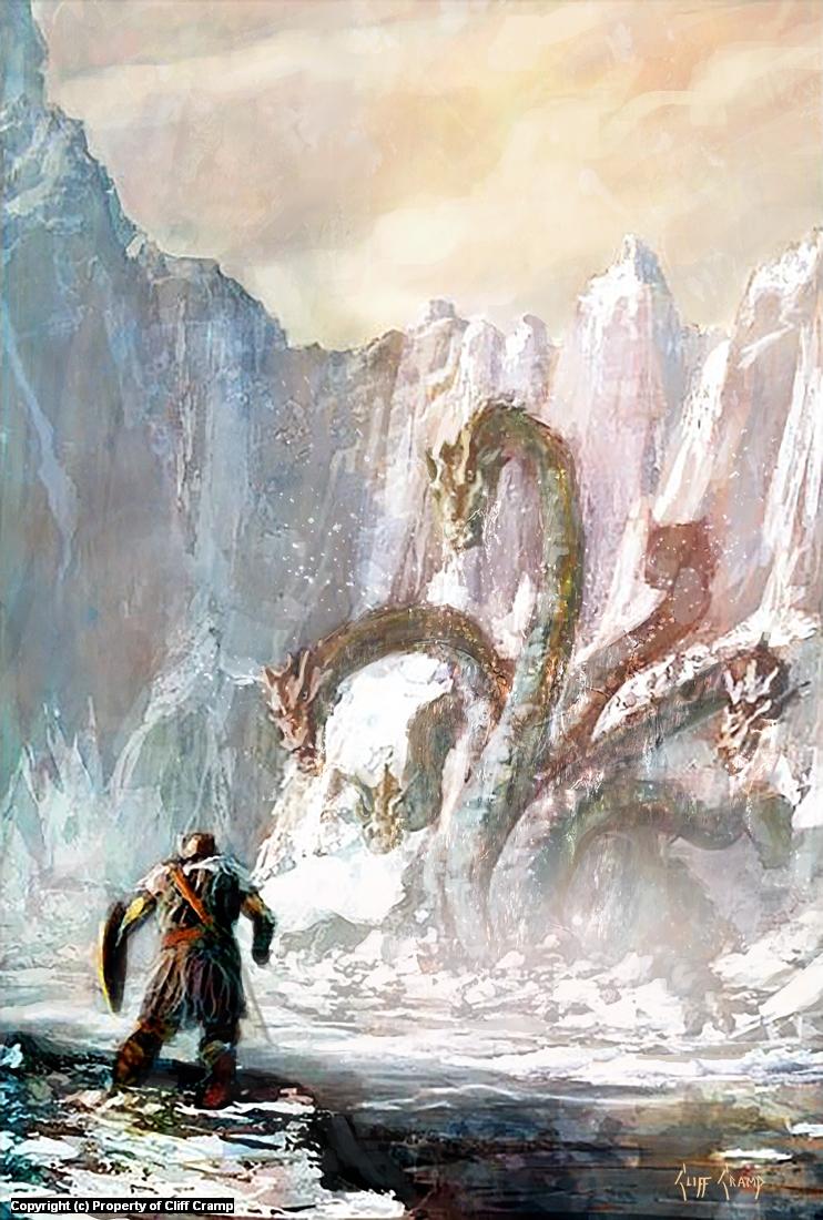 Battling Hydra Artwork by Cliff Cramp