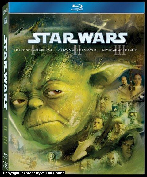 Star Wars Episodes 1, 2, 3 on BluRay Artwork by Cliff Cramp