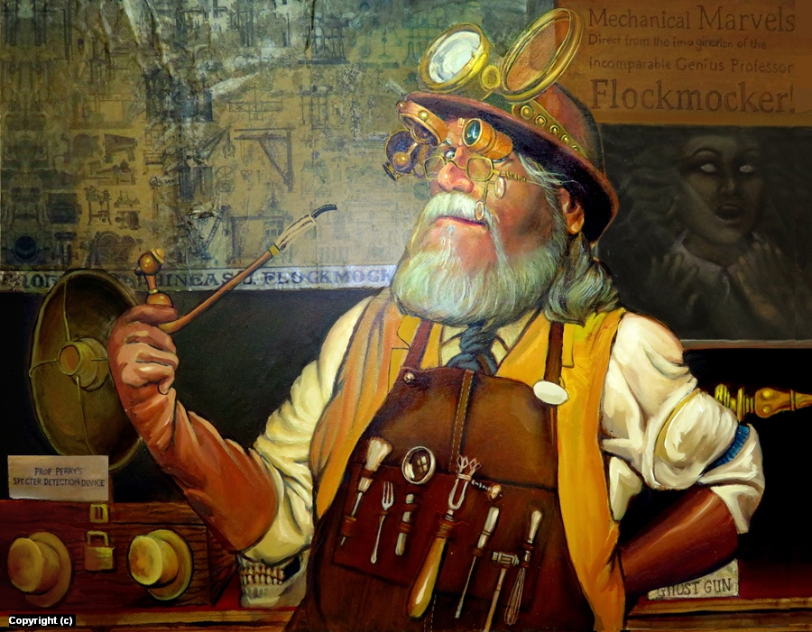 Professor Phineas J. Flockmocker III at the Dickens Fair Artwork by John Barrows