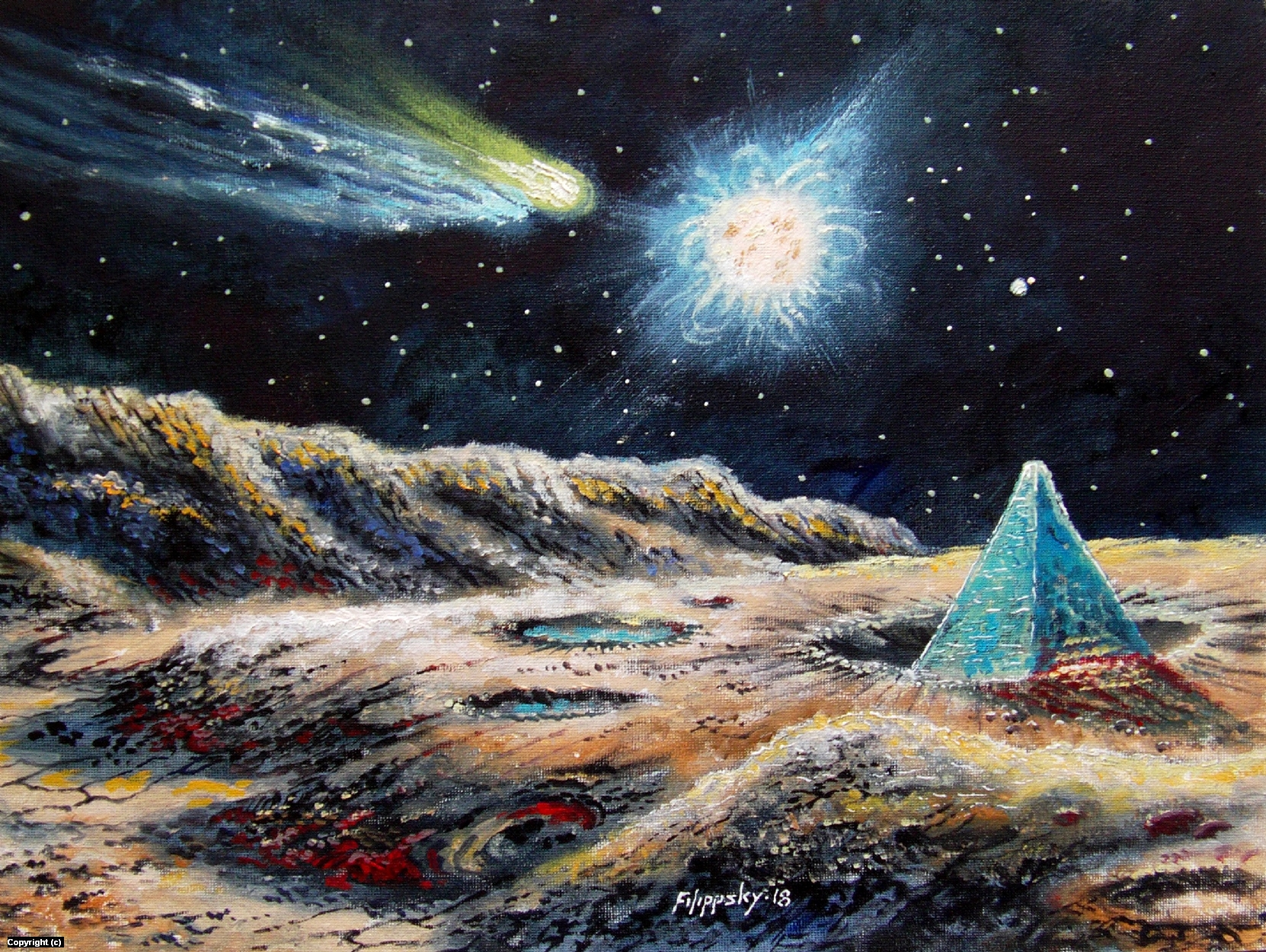 Landscape of Mercury with a comet and a blue pyramid. Artwork by Victor Filippsky