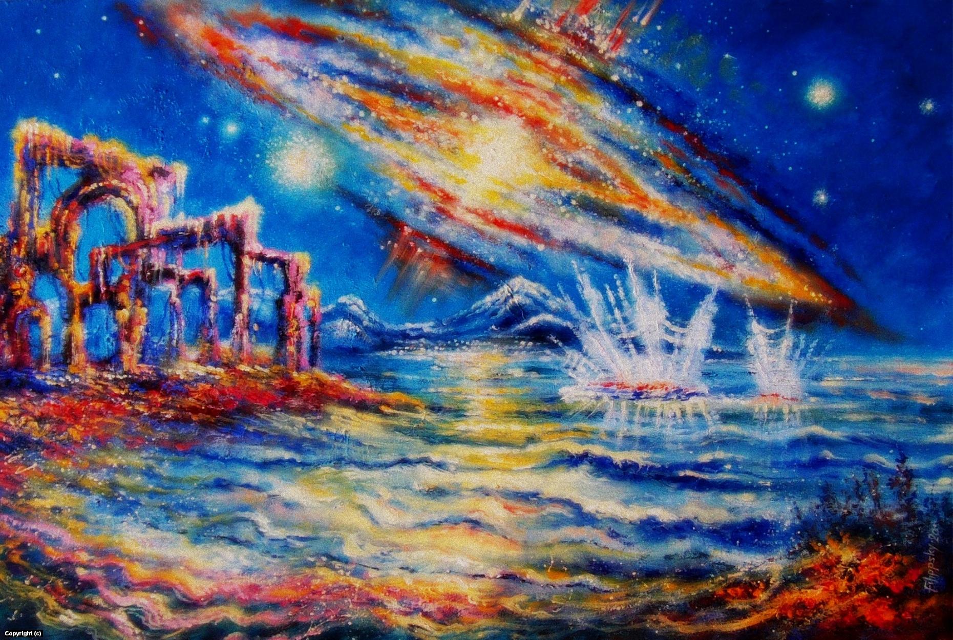 On the shores of a strange ocean. Artwork by Victor Filippsky