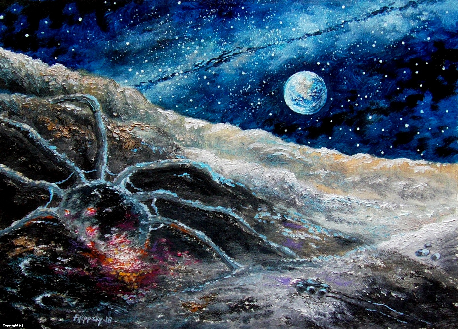 Luna.Meeting in the crater. Artwork by Victor Filippsky