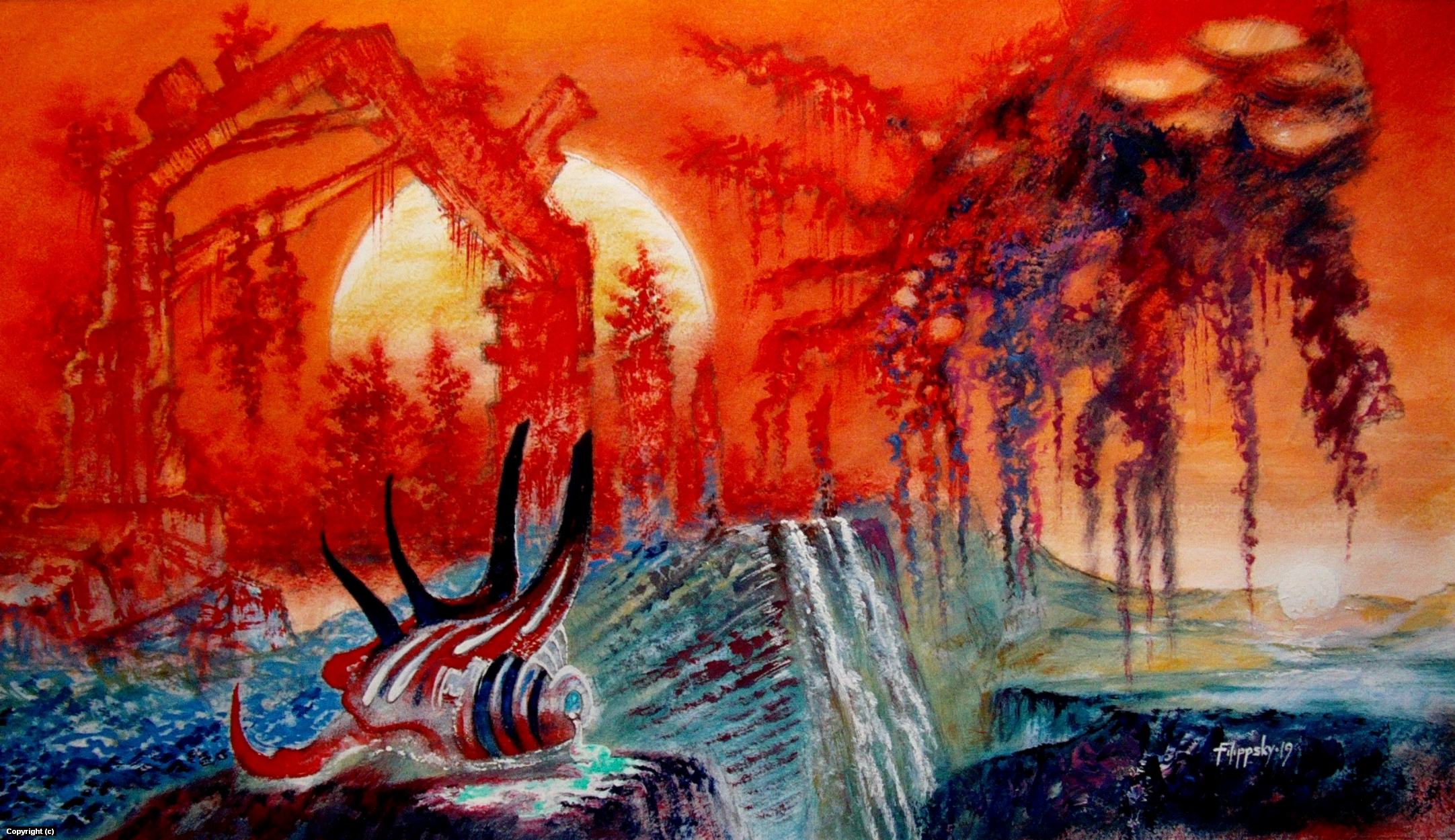 Amorphous alien among the ruins at sunset of the double star. Artwork by Victor Filippsky
