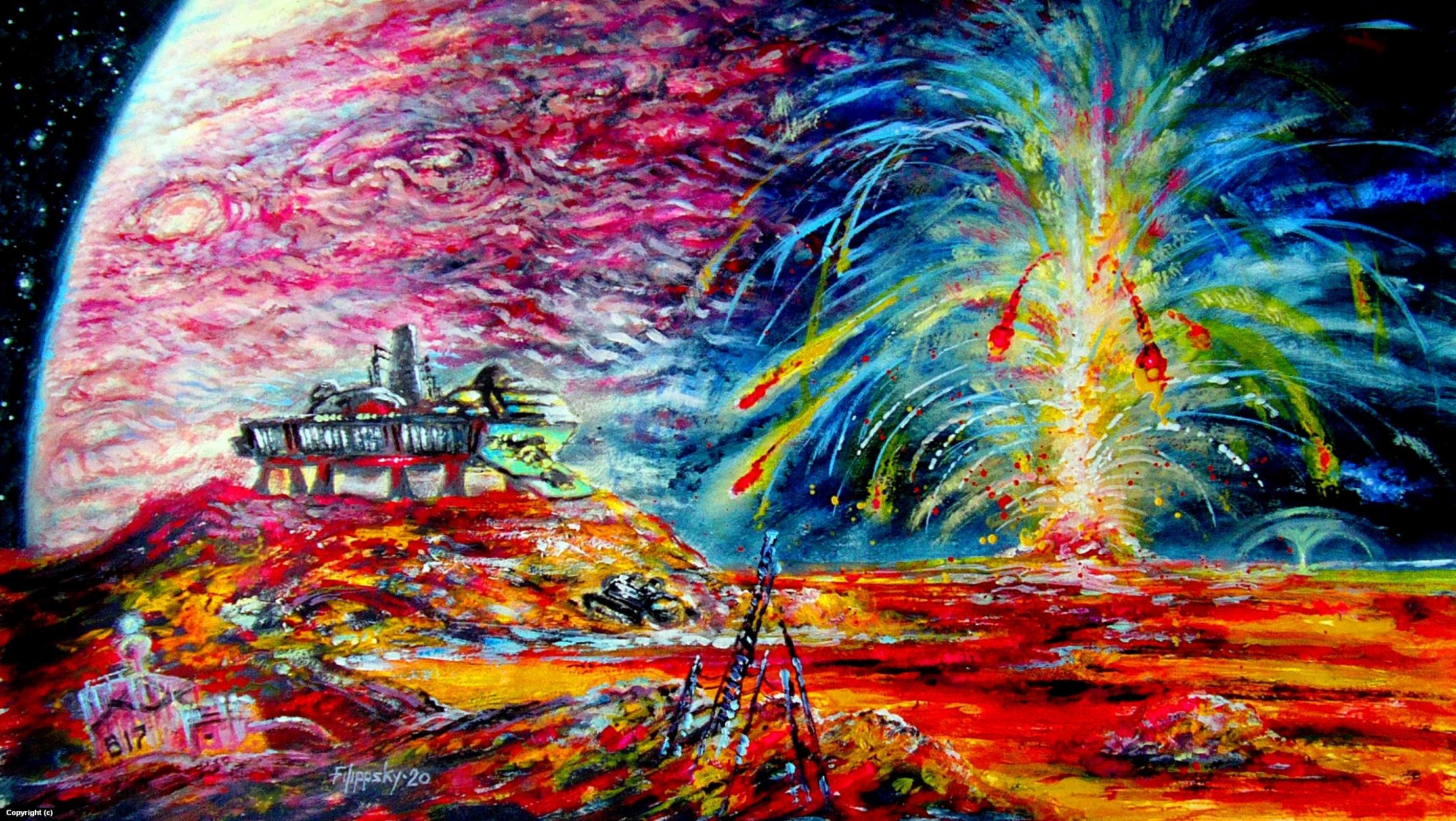 Volcanoes of Io. Artwork by Victor Filippsky