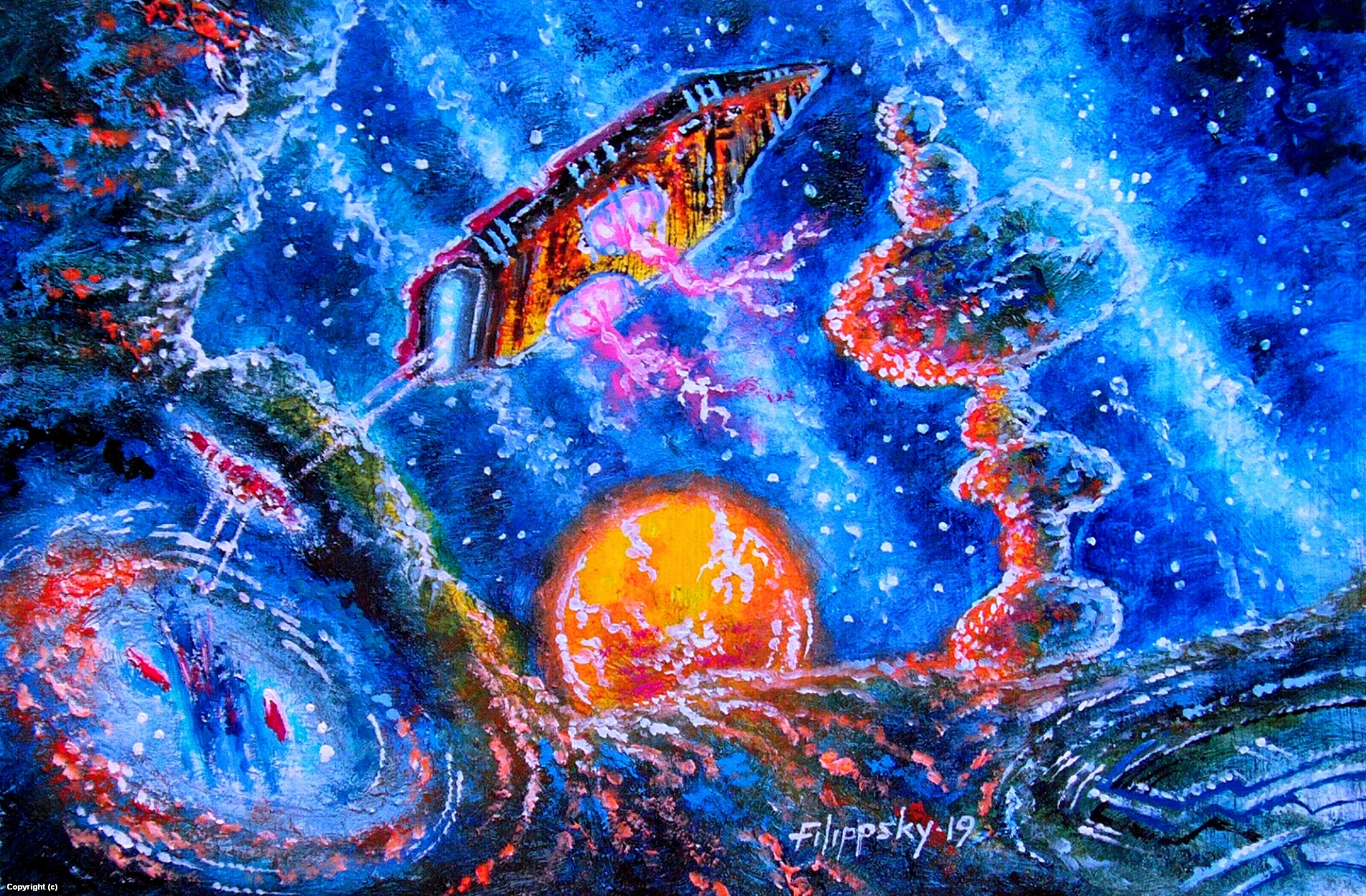 Cosmic currents. Artwork by Victor Filippsky
