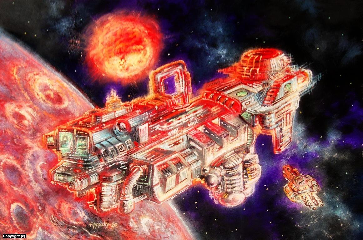 Space station. Artwork by Victor Filippsky