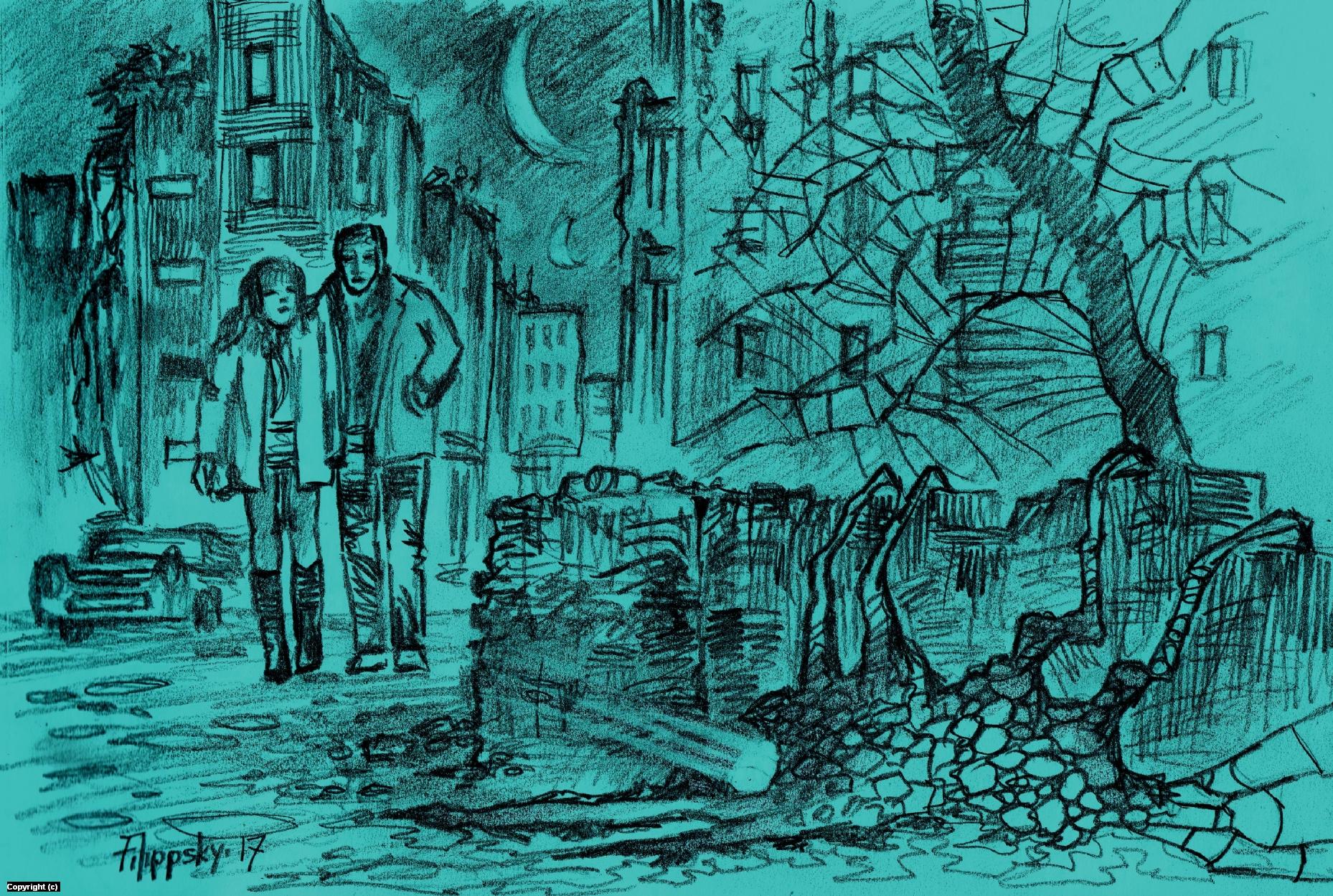 An evening walk. Artwork by Victor Filippsky