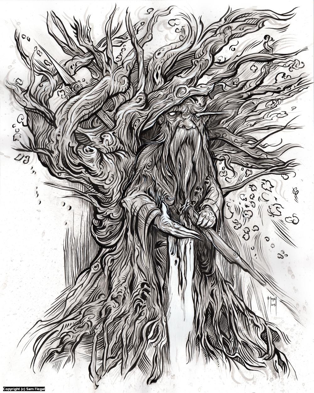 Odin on a Windy Tree Artwork by Sam Flegal