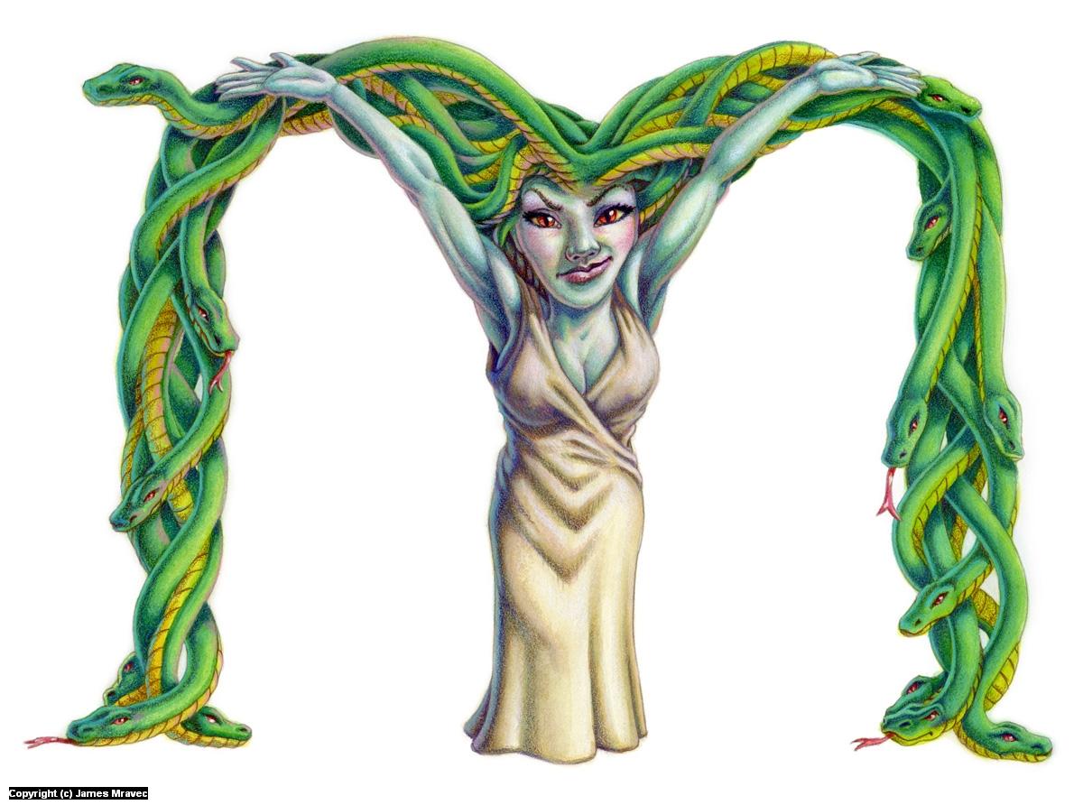 M is for Medusa Artwork by James Mravec