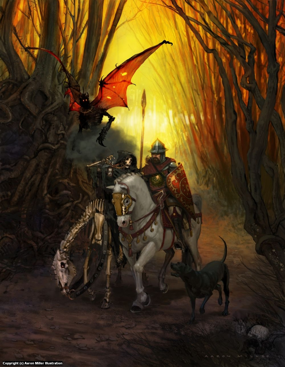 Knight, Death, and the Devil Artwork by Aaron Miller