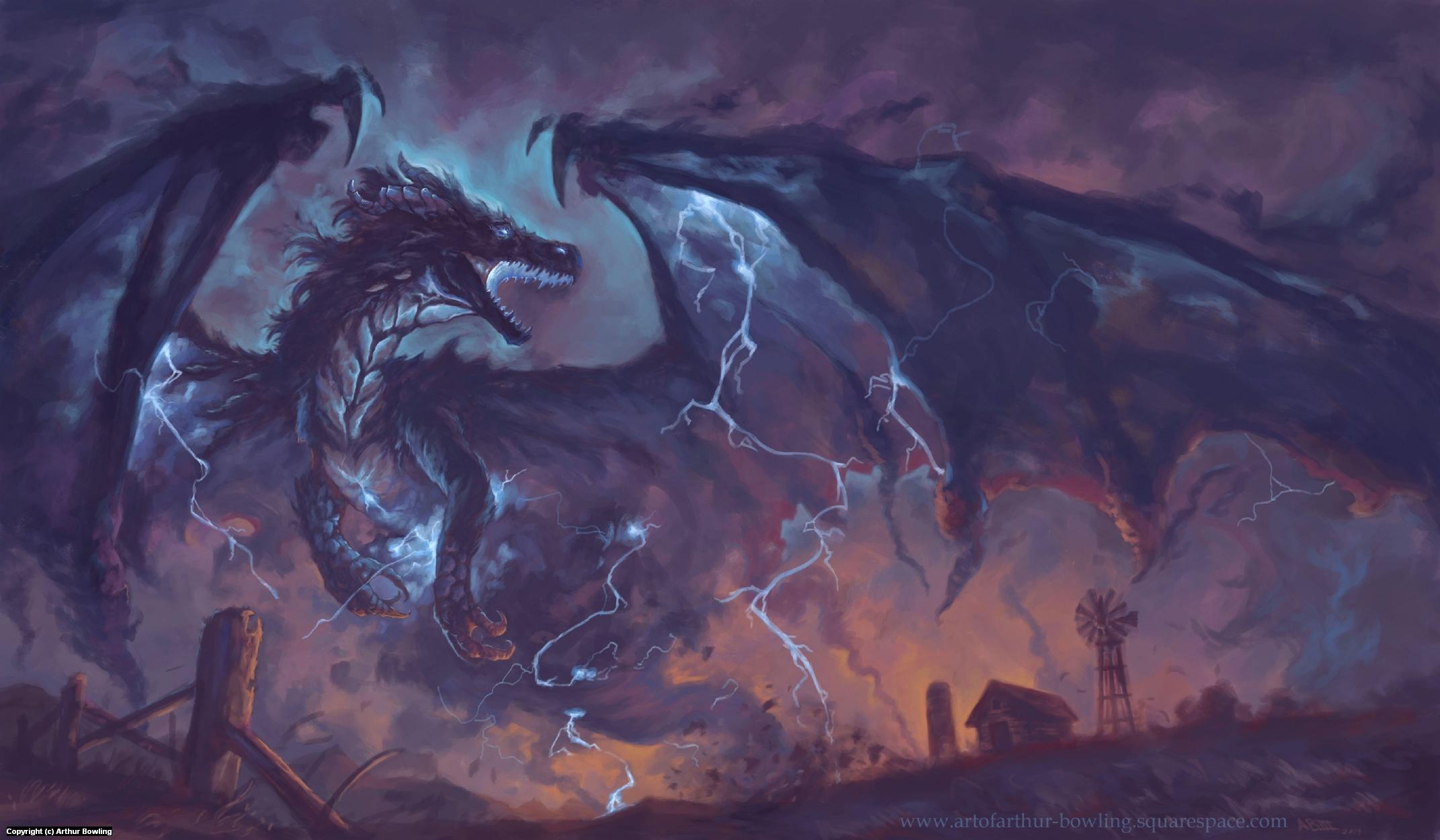 Storm Born Dragon Artwork by Arthur Bowling