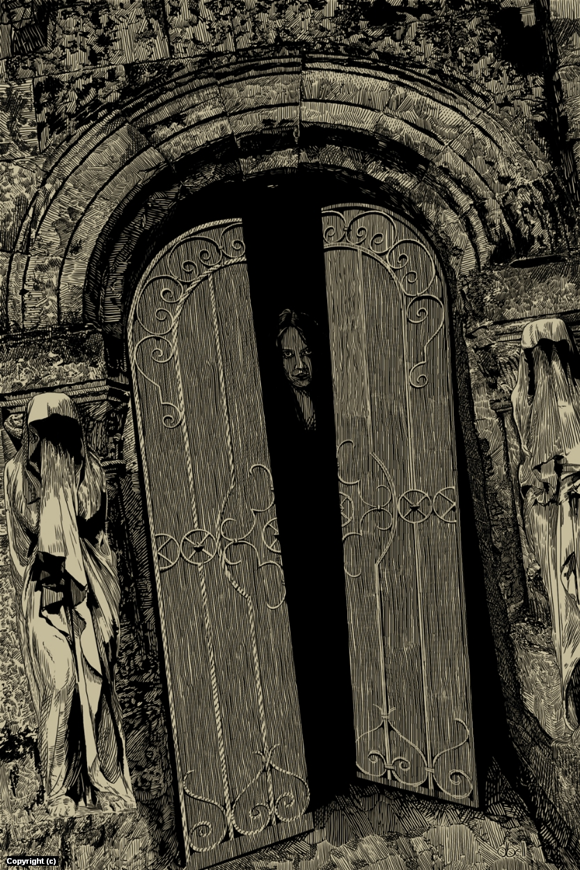 Dracula's Guest Mausoleum Doors Artwork by Douglas Bell
