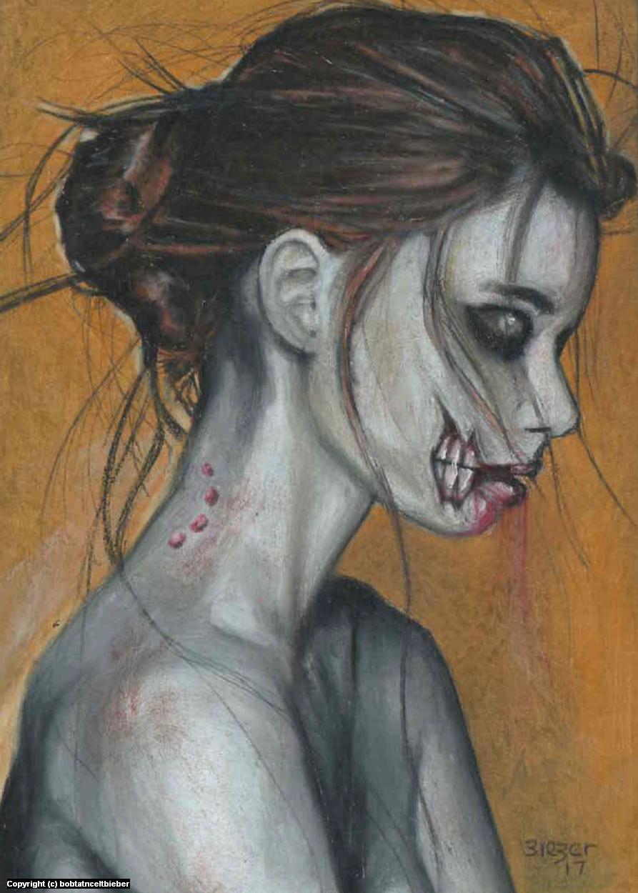 Bitten Zombie Girl Artwork by Bob Bieber