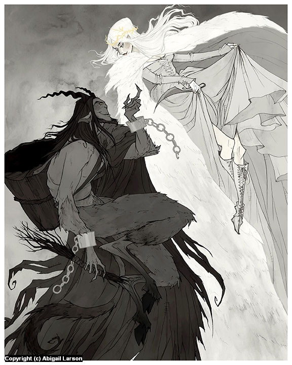 Krampus and Perchta Artwork by Abigail Larson