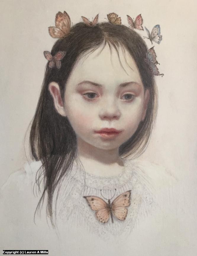 Butterfly Child Artwork by Lauren A Mills