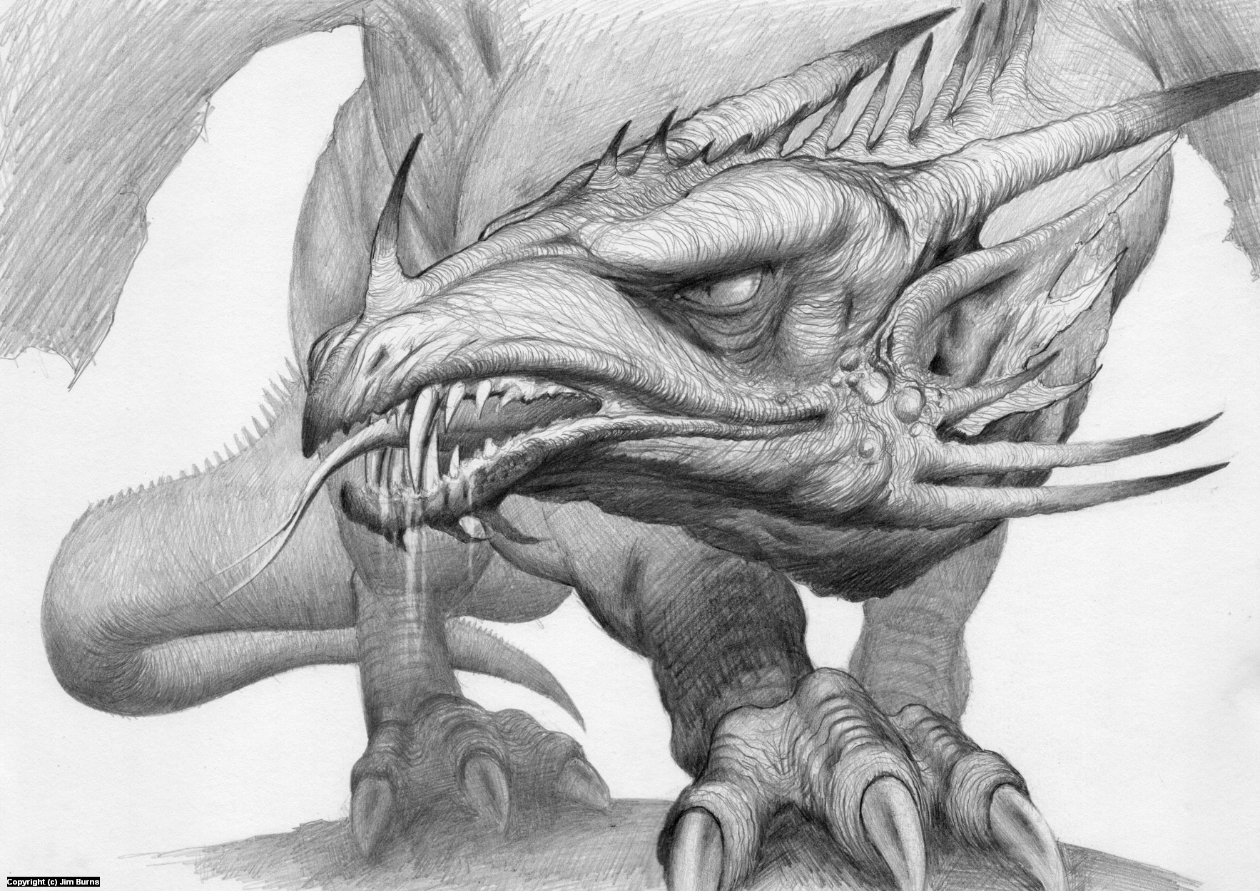 'Big Dragon Study' Artwork by Jim Burns