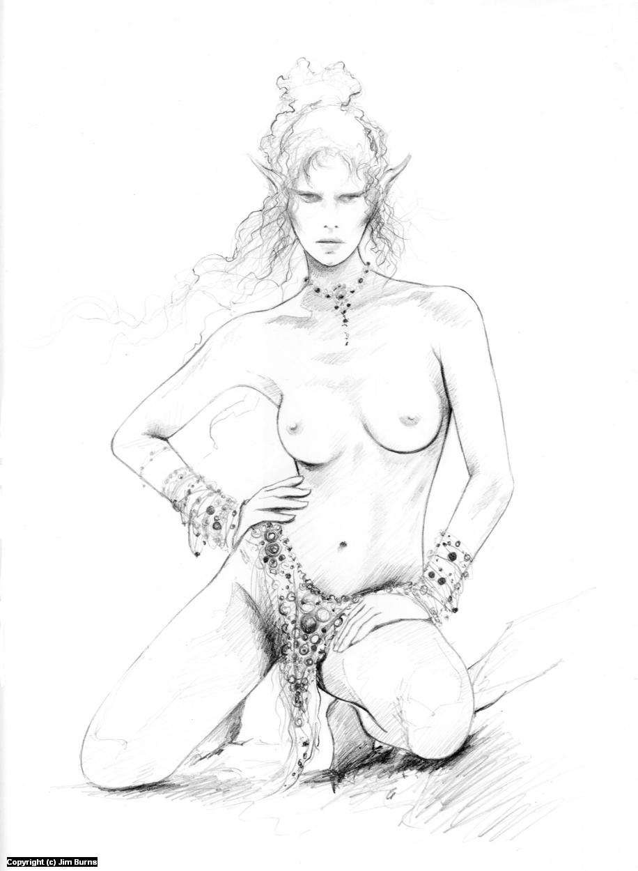 'Stroppy-looking Elf' Artwork by Jim Burns