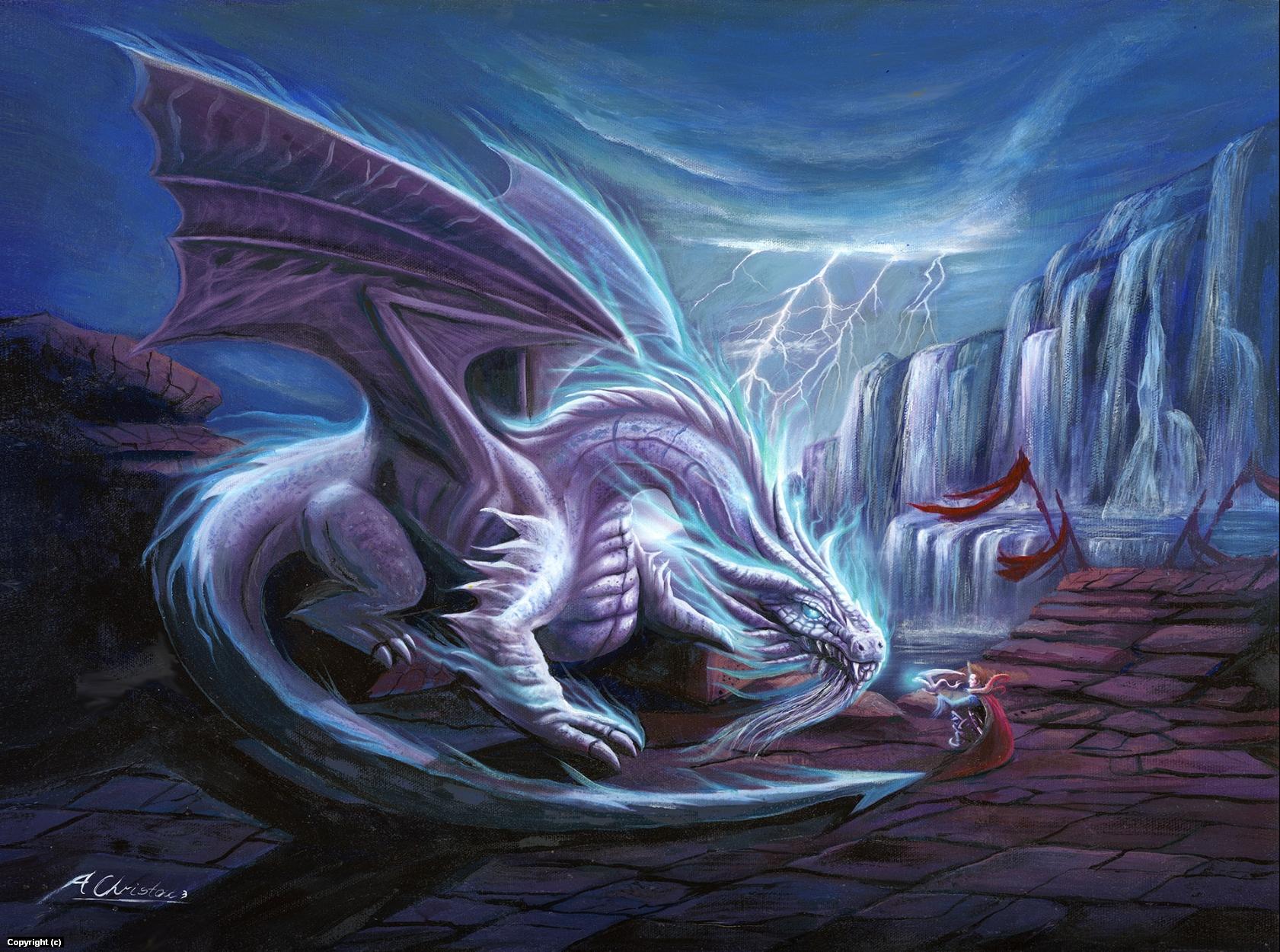 White Lighting Dragon Reshepia Artwork by Anthony Christou