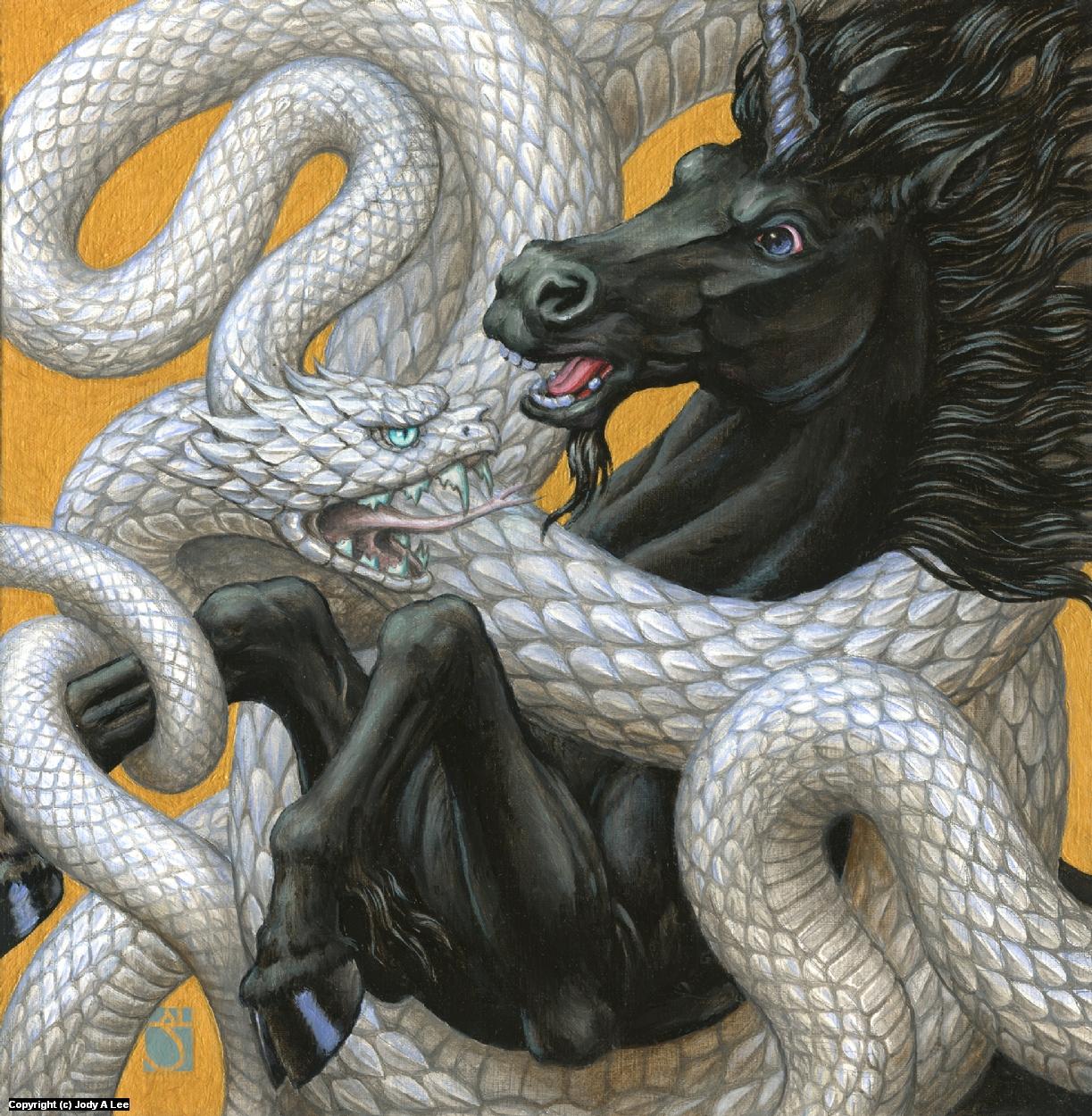 Unicorn & Viper Artwork by Jody Lee