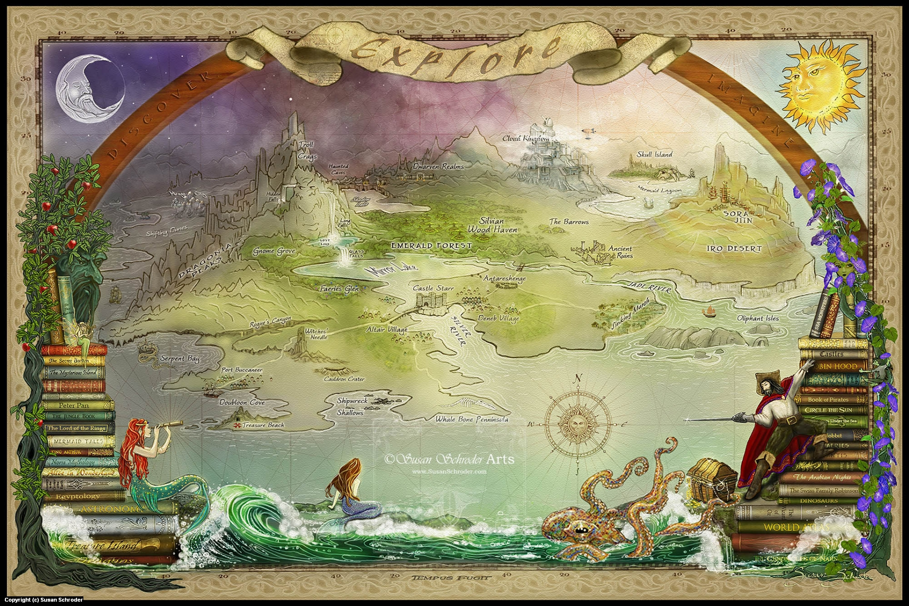 Storybook Map Artwork by Susan Schroder